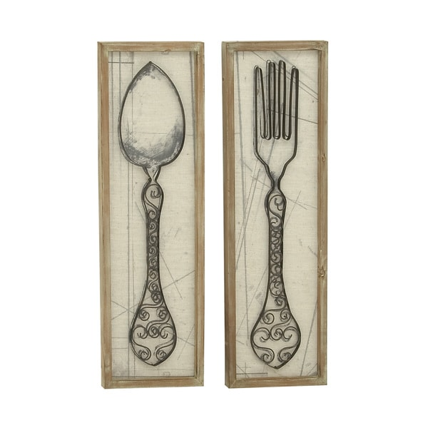 spoon and fork woodmetal 12inch x 36inch wall decor