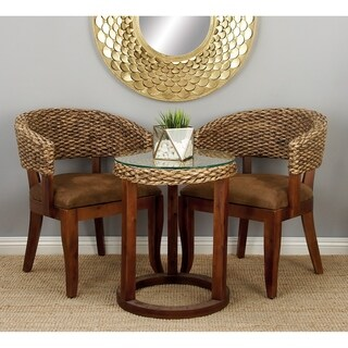 Hyacinth Wood Woven Chairs and Table (Set of 3)