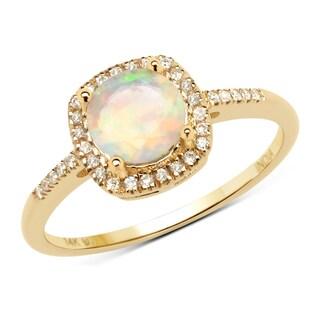 Malaika 14k Yellow Gold 5/8ct TGW Ethiopian Opal and White Diamond Ring