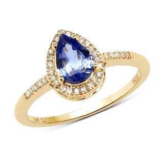 Malaika 14k Yellow Gold 3/4ct TGW Tanzanite and White Diamond Ring