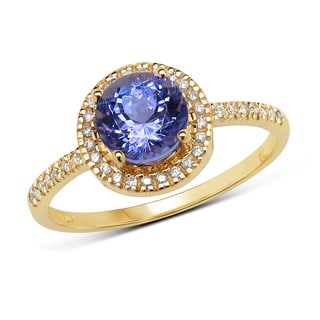 Malaika 14k Yellow Gold 1 1/10ct TGW Tanzanite and White Diamond Ring