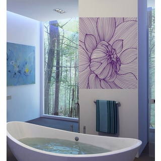 Graphic flower landscape tulip Wall Art Sticker Decal Purple