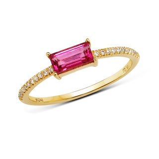 Malaika 14k Yellow Gold 1/2ct TGW Pink Tourmaline and White Diamond Ring