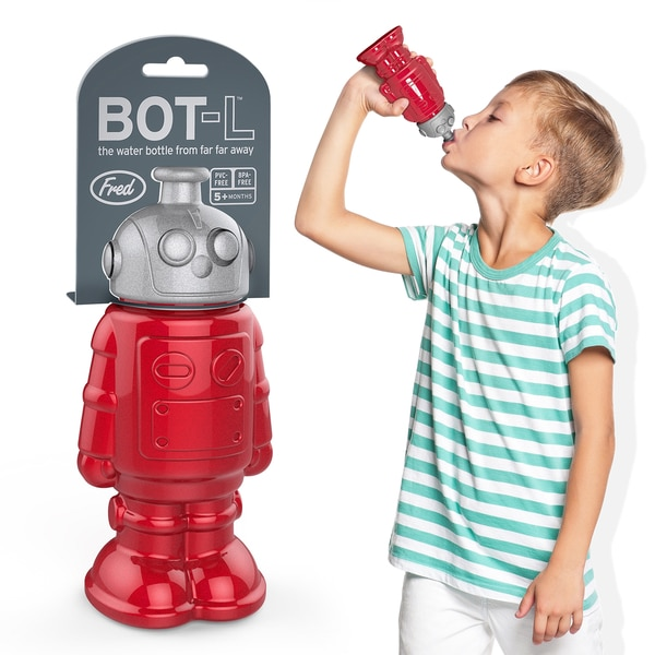 Fred & Friends BOTL Kids Silver/ Red PVC-Free Robot Sports Bottle