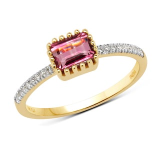 Malaika 14k Yellow Gold 5/8ct TGW Pink Tourmaline and White Diamond Ring