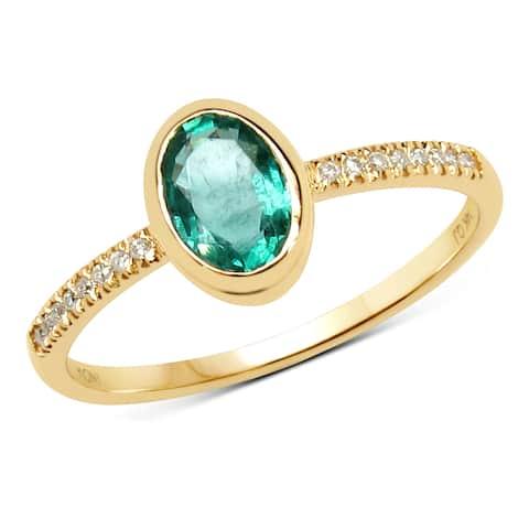 Malaika 14k Yellow Gold 3/4ct TGW Zambian Emerald and White Diamond Ring