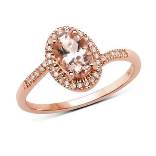 Malaika 14k Rose Gold 7/8ct TGW Morganite and White Diamond Ring