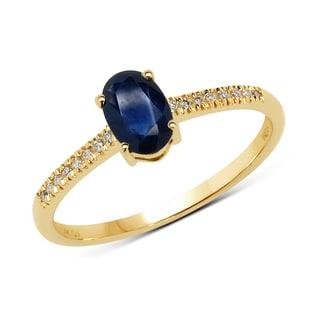 Malaika 14k Yellow Gold 3/5ct TGW Blue Sapphire and White Diamond Ring