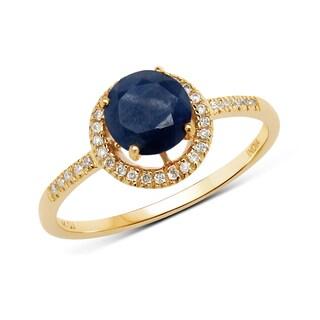 Malaika 14k Yellow Gold 1 1/8ct TGW Blue Sapphire and White Diamond Ring