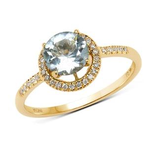 Malaika 14k Yellow Gold 7/8ct TGW Aquamarine and White Diamond Ring