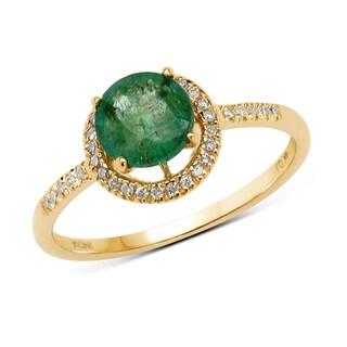 Malaika 14k Yellow Gold 7/8ct TGW Zambian Emerald and White Diamond Ring