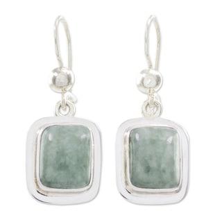Handcrafted Sterling Silver 'Modern Maya' Jade Earrings (Guatemala)