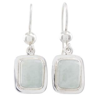 Handcrafted Sterling Silver 'Maya Mint' Jade Earrings (Guatemala)