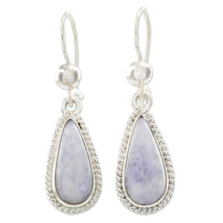 Handcrafted Sterling Silver 'Lavender Tear' Jade Earrings (Guatemala)