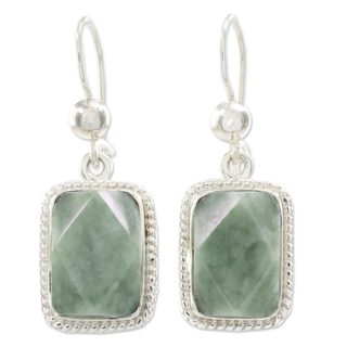 Handcrafted Sterling Silver 'Green Nuances' Jade Earrings (Guatemala)