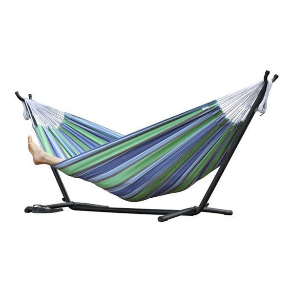 oasis 9 foot  bo double hammock with stand oasis 9 foot  bo double hammock with stand   free shipping today      rh   overstock