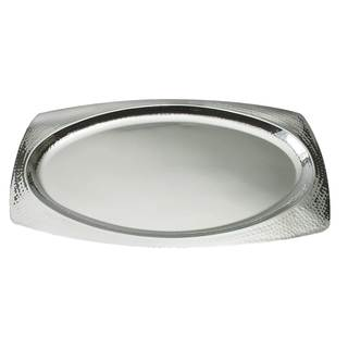 """Elegance 22"""" Oval Hammered Stainless Steel Tray"""