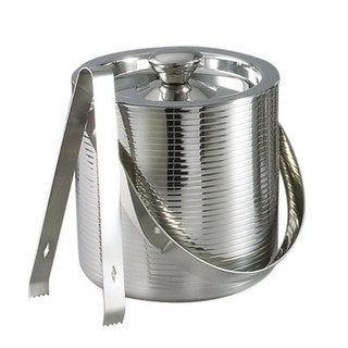 """Elegance 6"""" Stainless Steel Lines Ice Bucket with Tongs"""