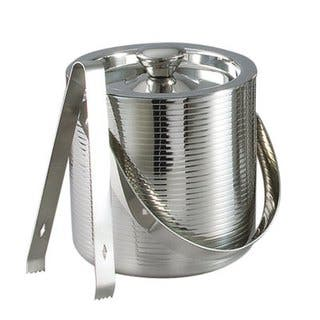 "Elegance 6"" Stainless Steel Lines Ice Bucket with Tongs