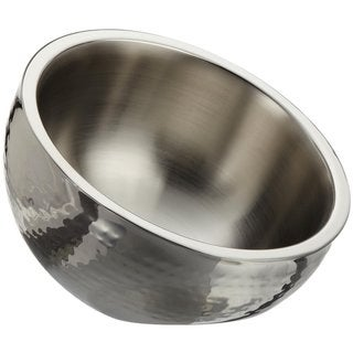 Elegance 12-inch Artistic Hammered Double Wall Hammered Stainless Steel Angle Bowl