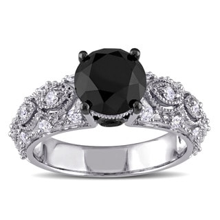 Miadora Signature Collection 10k White Gold 3ct TDW Black And White Diamond Vintage Engagement Ring