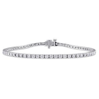 Miadora Signature Collection 14k White Gold 3ct TDW Diamond Tennis Bracelet