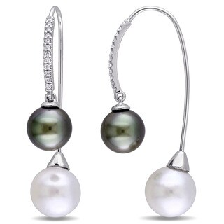 Miadora Signature Collection 14k White Gold Cultured Freshwater and Tahitian Pearl 1/7ct TDW Diamond Earrings (G-H, SI1-SI2)