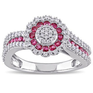Miadora Signature Collection 14k White Gold 1/2ct TDW Diamond and Ruby Halo Flower Cluster Ring (G-H, SI1-SI2)