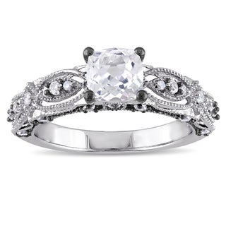 Miadora 10k White Gold Cushion-cut Created White Sapphire and Diamond Accent Vintage Filigree Engage