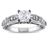 Miadora 10k White Gold Cushion-cut Created White Sapphire and Diamond Accent Vintage Filigree Engagement Ring