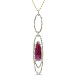 Miadora Signature Collection 14k Yellow Gold Ruby and 4/5ct TDW Diamond Tiered Link Necklace (G-H, SI1-SI2)