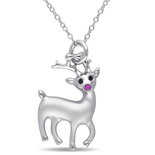 Miadora Sterling Silver Created Ruby and Black Diamond accent Rudolph the Reindeer Necklace