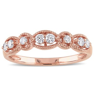 Miadora 14k Rose Gold 1/4ct TDW Floating Diamond Vintage Wedding Band