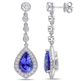 Miadora Signature Collection 14k White Gold Pear-cut Tanzanite and 1 1/2 TDW Diamond Teardrop Dangle Earrings (G-H, SI1-SI2)