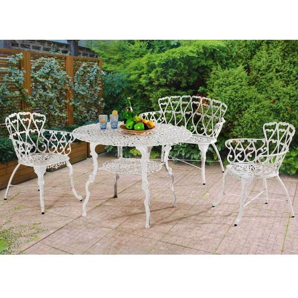 Cast Aluminum Patio Furniture Heart Pattern: Shop Sunjoy Arriva White Aluminum 4-Piece Bistro Table Set
