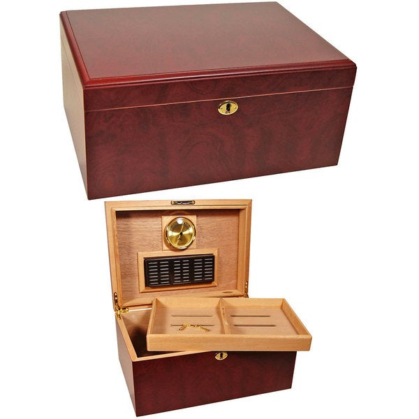 Cuban Crafters Humidors Clasico Rosa Brown Wood 100-cigar Desktop Humidor