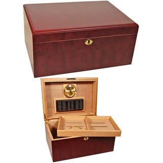 Cuban Crafters Humidors Clasico Rosa Brown Wood 100-cigar Desktop Humidor|https://ak1.ostkcdn.com/images/products/11882122/P18778602.jpg?impolicy=medium