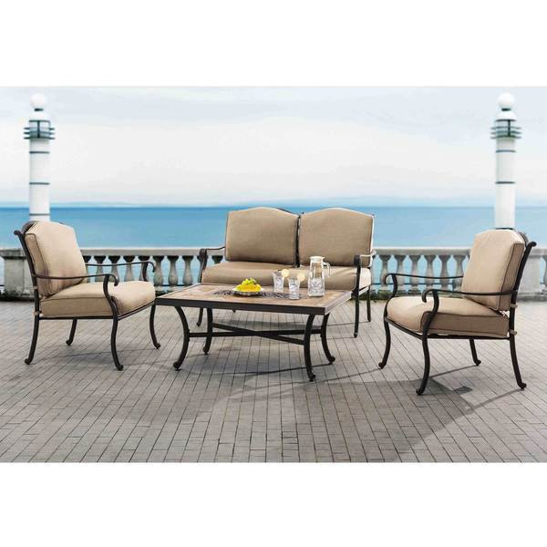 Shop Sunjoy L-DN1255SAL-B Brady Chat Set - Free Shipping ... on Safavieh Outdoor Living Granton 5 Pc Living Set id=31380