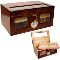 Cuban Crafters Bravo Dos Brown Wood and Glass Top Cigar Humidor ( Holds 120 Cigars)