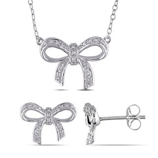 Miadora Sterling Silver 1/10ct TDW Diamond Bow Necklace and Stud Earrings Set