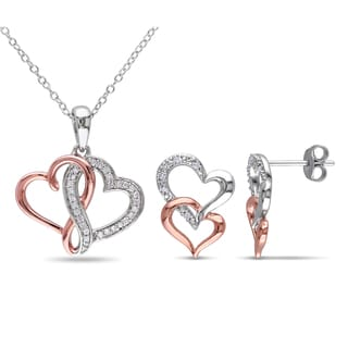 Miadora  2-Tone White and Rose Plated Sterling Silver 1/5ct TDW Diamond Double Heart Earrings and Necklace Set (G-H, I2-I3)