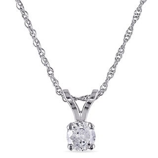 Miadora 10k White gold 1/6ct TDW Diamond Solitaire Necklace (I-J, I2-I3)