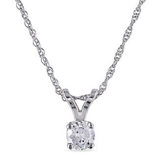 Miadora 10k White gold 1/6ct TDW Diamond Solitaire Necklace|https://ak1.ostkcdn.com/images/products/11882127/P18778589.jpg?impolicy=medium