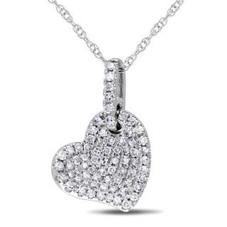 Miadora 10k White Gold 1/4ct TDW Diamond Heart Necklace