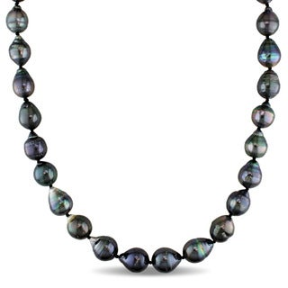 Miadora Signature Collection 14k White Gold Baroque Black Tahitian Pearl and Diamond Accent Graduated Strand Necklace (8-11 mm)