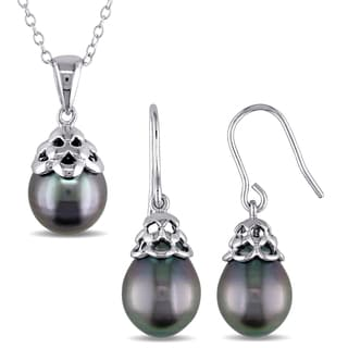 Miadora Sterling Silver Black Tahitian Pearl Drop Necklace and Earrings Set (9-10mm)