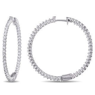 Miadora Signature Collection 14k White Gold 1 3/8ct TDW Diamond Inside-out Hoop Earrings (G-H, SI2-SI3)
