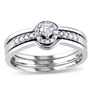 Miadora Sterling Silver 1/4ct TDW Diamond Halo Bridal Ring Set