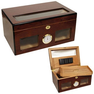 Cuban Crafters BRAVO Wood Glass-top 120-Cigar Humidor