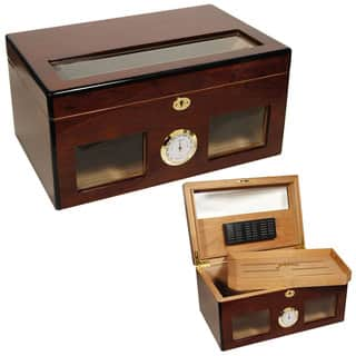 Cuban Crafters BRAVO Wood Glass-top 120-Cigar Humidor|https://ak1.ostkcdn.com/images/products/11882137/P18778603.jpg?impolicy=medium
